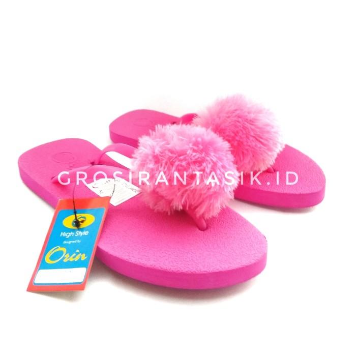 Sandal Flat ORIN PomPom Pink Fuschia / Sandal Jepit Teplek Bulu