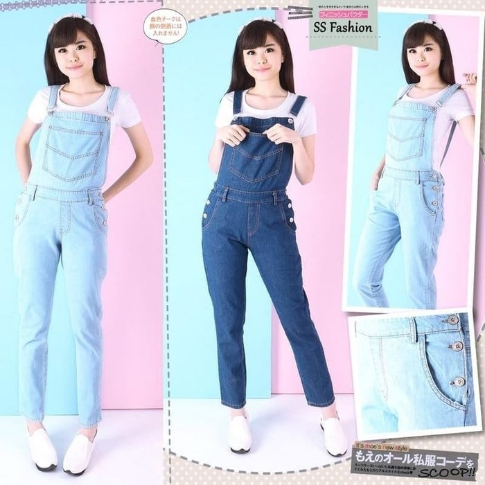 Jual Celana Panjang Wanita Overall Celana Kodok Jeans Washed Polos