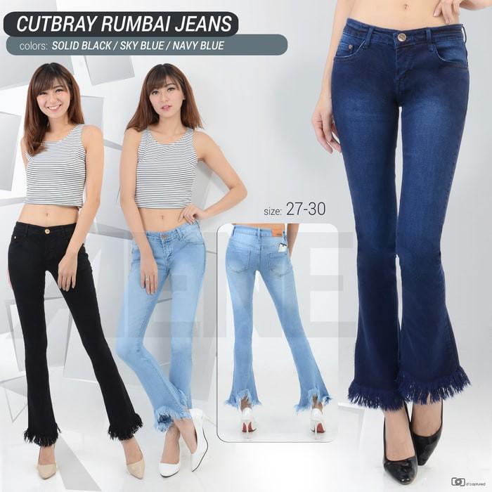 jeans terbaru Celana Cutbray Rumbai Jeans Pants Girl Wanita Women