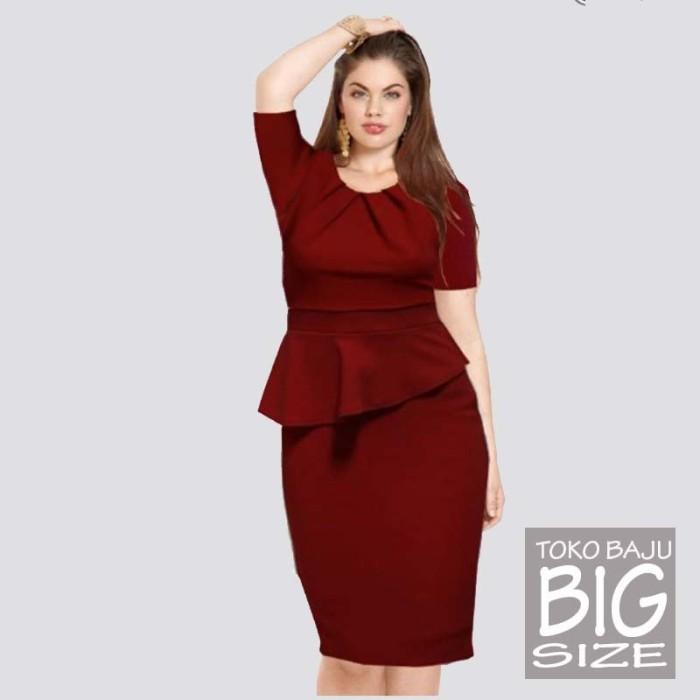 Jual Baju Jumbo Dress Big Size A0805-1 Maroon Ukuran 3xl