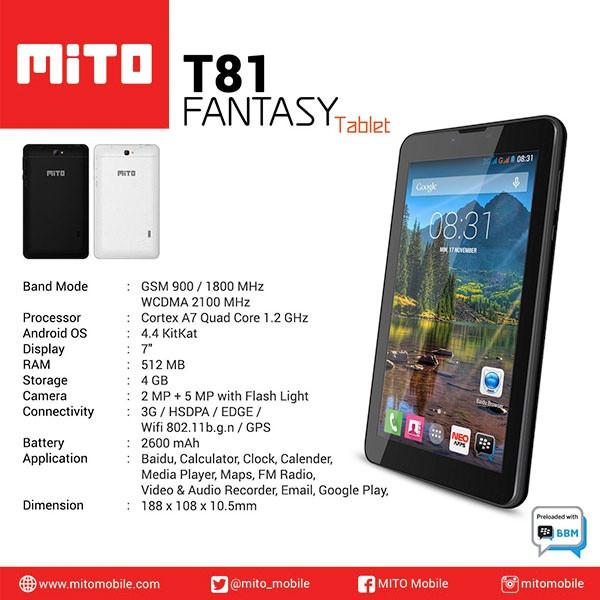 harga Mito Fantasy Tablet T81 Tab 7