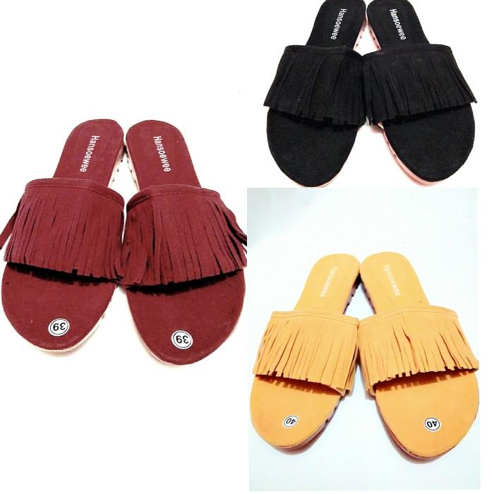 sepatu wanita /sandal selop rumbai A 01