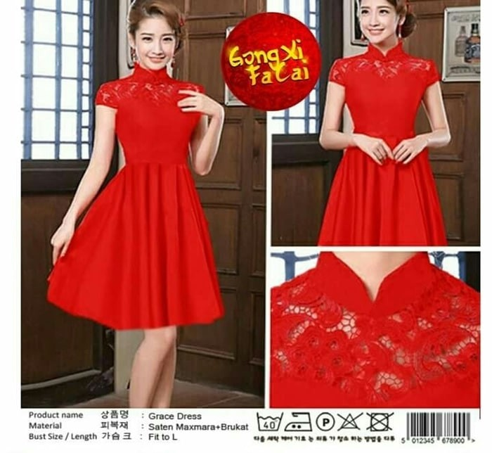harga Dc cheongsham dress grace red brukat imlek shanghai sincia qipao Tokopedia.com