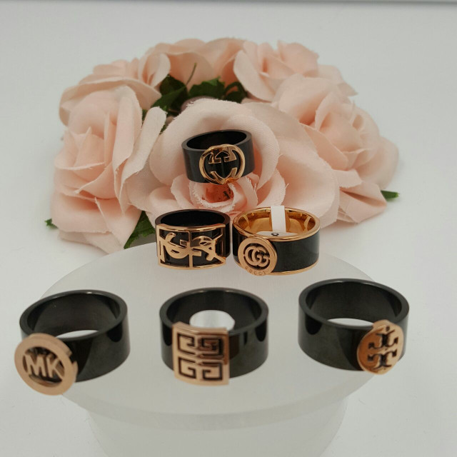 Cincin black ceramic branded collections; GCC, M.K, YSL