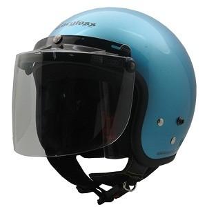 Cargloss retro helm half face slide blue + visor bogo flat bg-05 clear