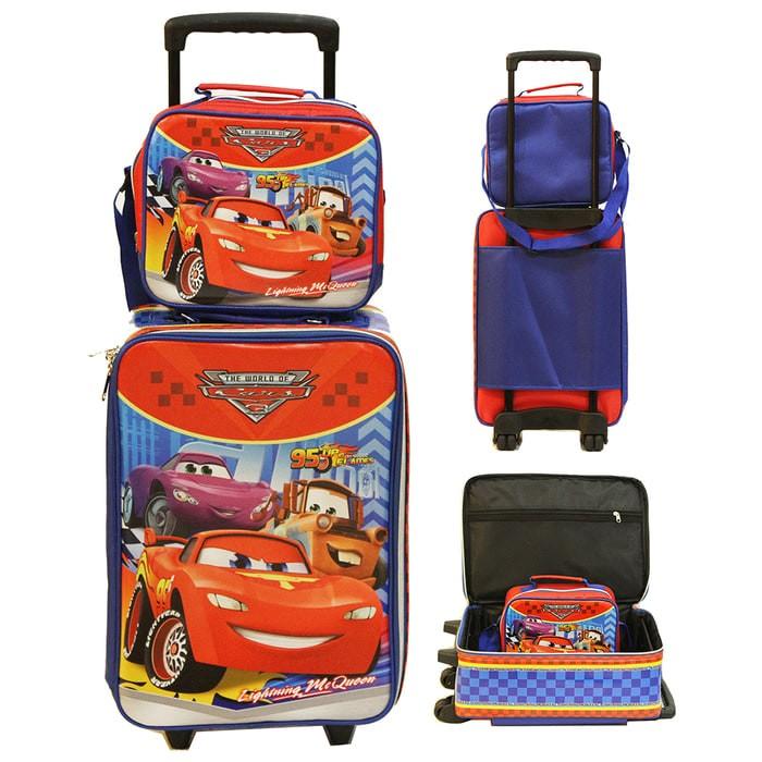 TAS ANAK IMPORT AWET SET KOPER CARS MCQUEEN DAN LUNCH BAG BAHAN SPONG