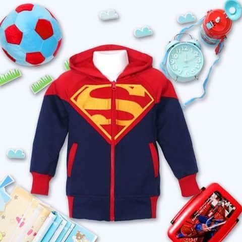 Jaket Anak harga Murah Bahan tebal - Jaket anak laki-laki superman 2-7 - 2-3 tahun