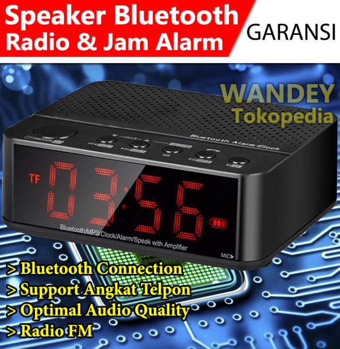 harga Speaker mini bluetooth/radio fm/jam meja/jam weker digital k d 66 Tokopedia.com