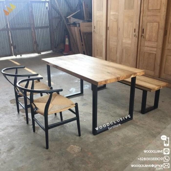 Jual Set Meja Makan Meja Cafe Industrial Kursi Makan Wishbone