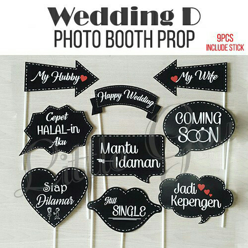 Jual Wedding D Photo Booth Prop With Stick Aksesoris Photobooth