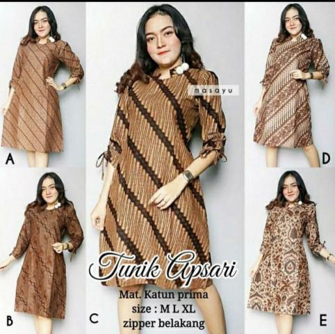 harga Dress pendek etnik wanita lengan serut batik murah ukuran allsize Tokopedia.com