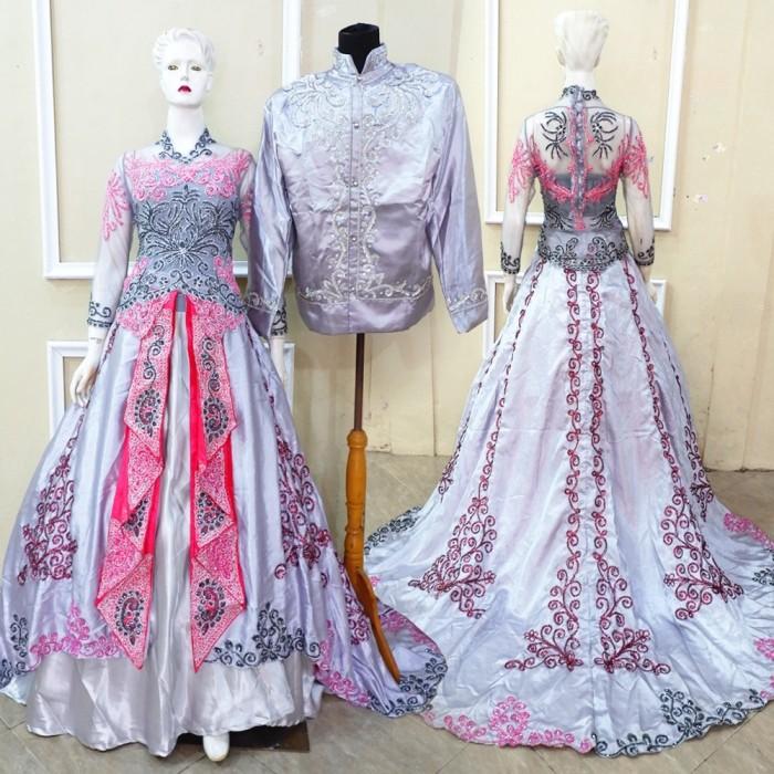 Jual Sepasang Gaun Kebaya Cantik Kebaya Pernikahan Satin Modern