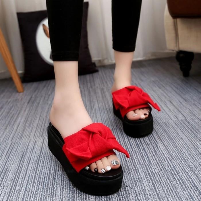 harga Sandal wedges pita/wedges platform selop  adl 1195 merah Tokopedia.com