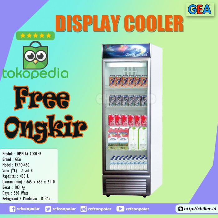 Gea expo-480 showcase display cooler free ongkir