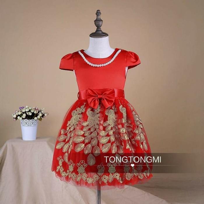 harga Dress anak gaun pesta anak+kalung motif ukiran emas timbul  import Tokopedia.com