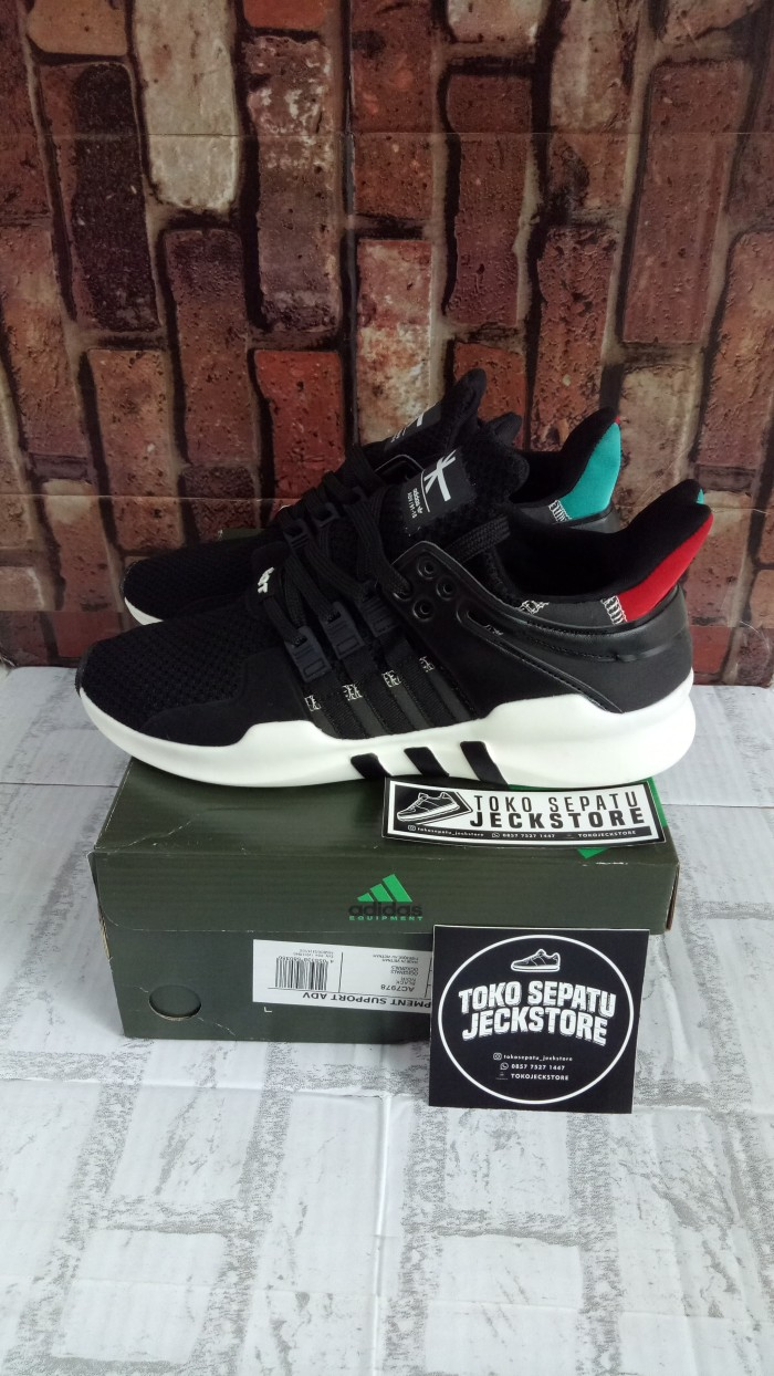 new style a2ab5 2d5dc SEPATU ADIDAS EQT SUPPORT ADV WICKER PARK BLACK GREEN RED