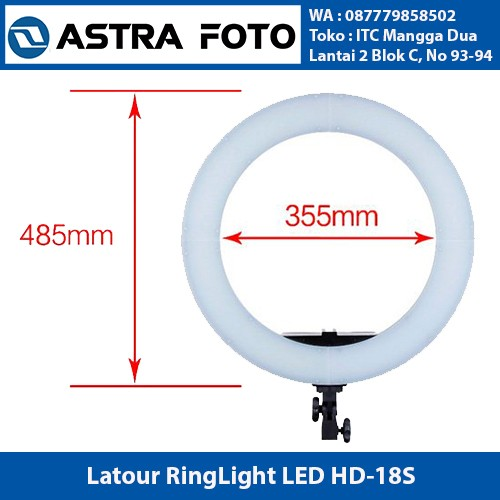 Latour ring light led hd 18s with dimmer & bag