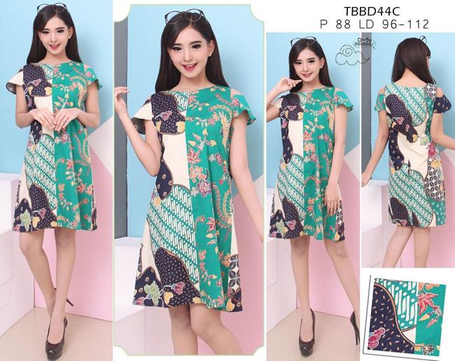 harga Tbbd18b - Dress Batik Lengan Pendek Motif Kawung Keong Katun Prima Tokopedia.com