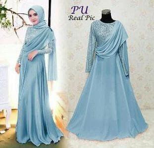 Jual Wanita Muslim Model Baju Muslim Gamis Terbaru Dan Modern Ayana Biru Kota Bekasi Toko Larisa 01 Tokopedia