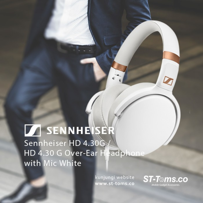 Jual Sennheiser Hd 4.30g / Hd 4.30 G Over-Ear Headphone With Mic Putih Harga Promo Terbaru