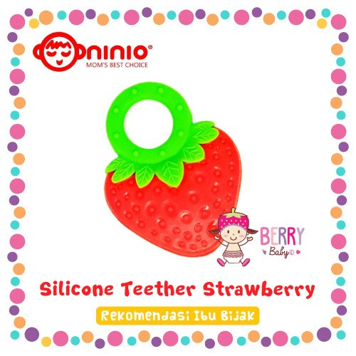 Silicone teether ninio strawberry gigitan bayi silikon