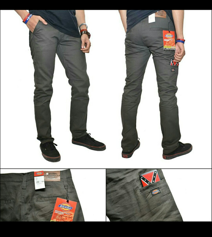 Celana chino panjang pocket streetch dickies dark grey abu tua .