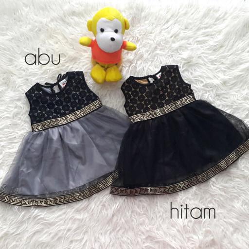 Baju dress pesta anak bayi perempuan hitam abu pita motif gold