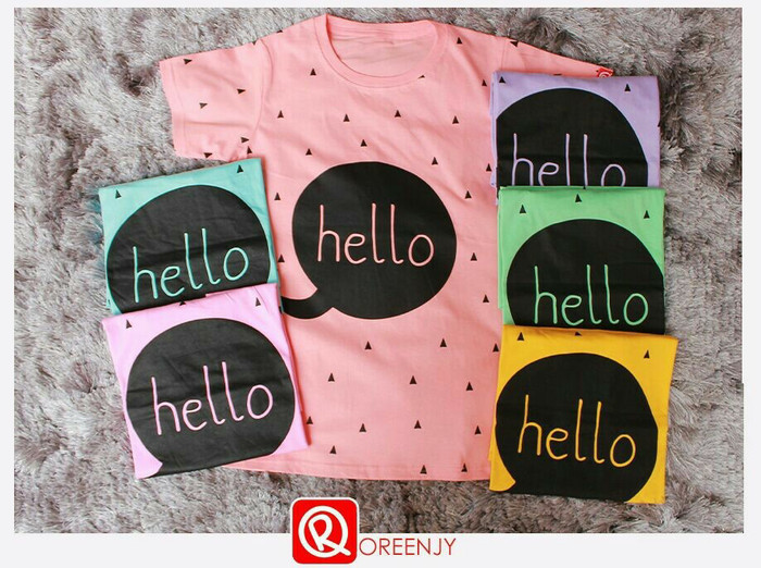 harga Kaos tumblr hello tee oreenjy t-shirt kaus wanita Tokopedia.com