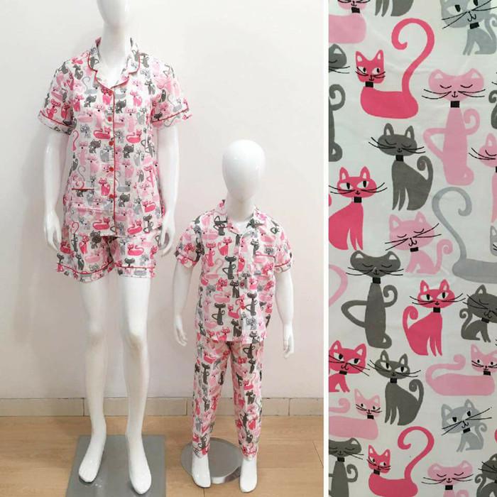 harga Baju tidur piyama couple mom&kids motif cat pink Tokopedia.com