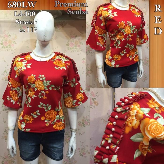 harga Fb100 blouse premium scuba atasan wanita full flower motif import Tokopedia.com