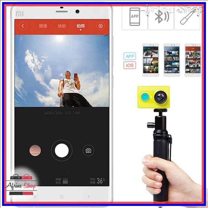 Xiaomi Yi Selfie Stick Monopod with Bluetooth Remote for Xiaomi Yi OEM - Hitam