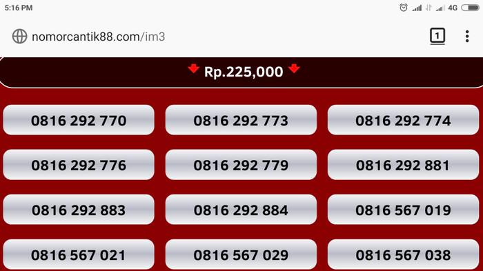 harga Nomor cantik im3 kartu perdana indosat nocan 10 digit 0816 4g mentari Tokopedia.com