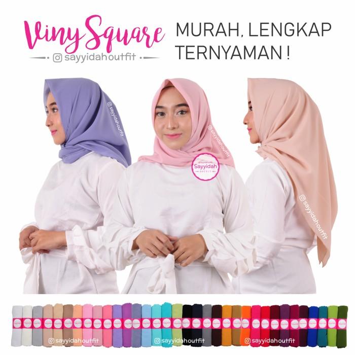 VINY SQUARE Jilbab Polos Scarf Viney Hijab Chiffon Fine