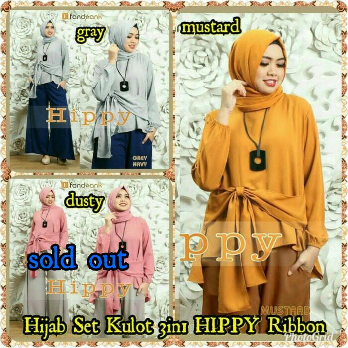 Setelan Wanita Baju Hijab Set Kulot 3in1 HIPPY Ribbon