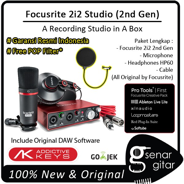 harga Focusrite scarlett 2i2 studio - 2nd generation, usb audio interface Tokopedia.com