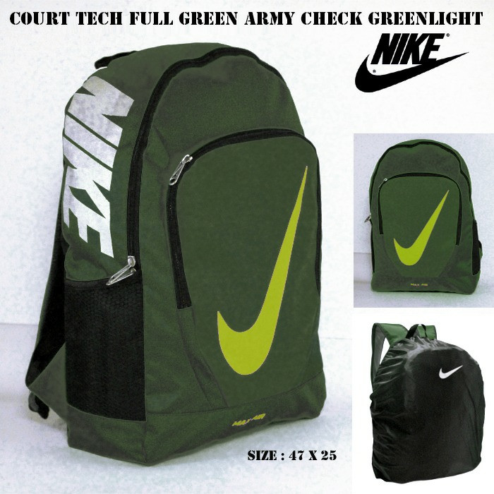 TAS RANSEL NIKE COURTH TECH FULL GREEN ARMY CHECK GREENLIGHT GROSIR