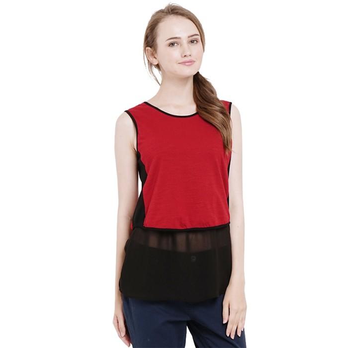 Minimal carys mixed top black velvet (mnm0712-40064980023) - merah s