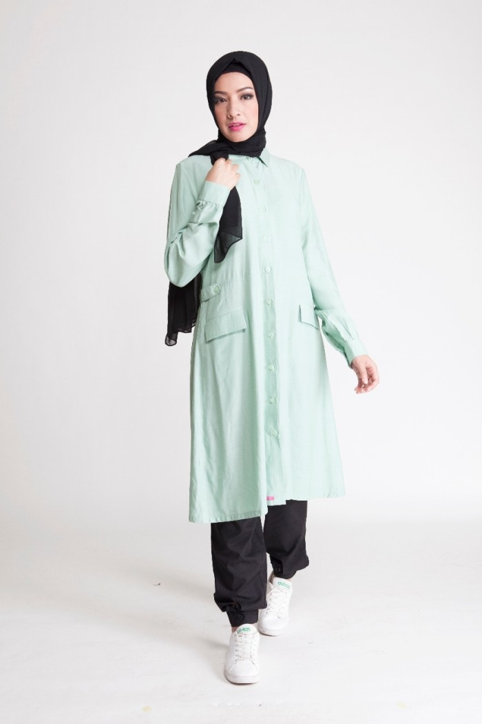 Jual Tunik Ethica Terbaru Warna Hijau Muda Baju Gamis Modern