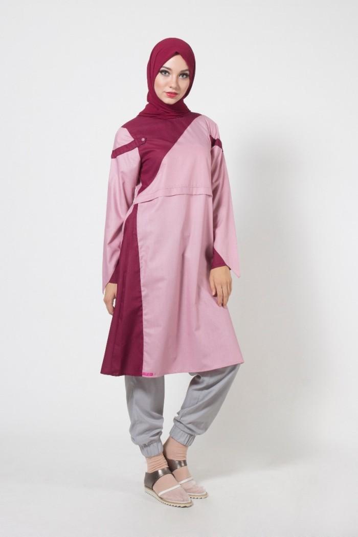 Jual Tunik Ethica Terbaru Warna Salem Kombinasi Merah Baju Gamis