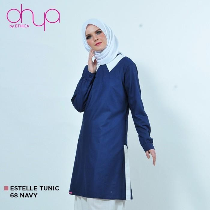 Jual Tunik Ethica Terbaru Warna Blue Black Baju Gamis Modern