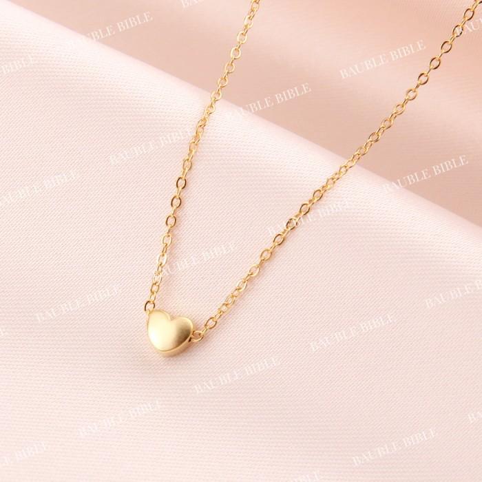 Bauble bible heart 3d necklace perhiasan kalung hati lapis emas 18k