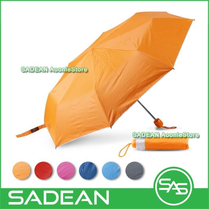 Payung lipat loko silver lapisan uv teduh anti panas & hitam - orange