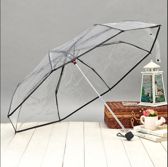 Payung lipat 3 transparan bening jepang ukuran 24