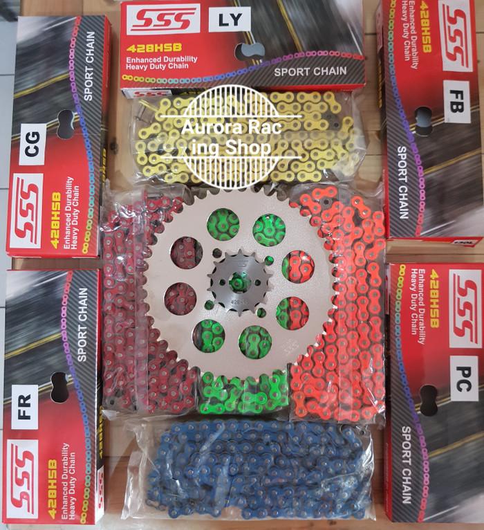 harga Gear set sss 428 satria fu [ 2007 - 2012 ] & rantai sss hsb warna Tokopedia.com