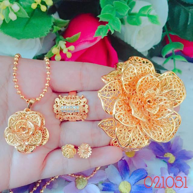 Jual Set perhiasan Xuping lapis emas bunga kendari ...