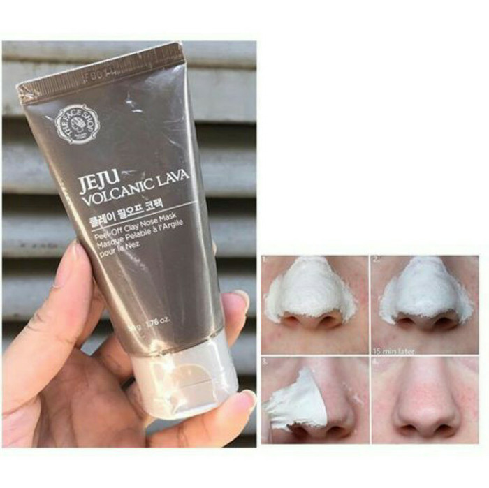 The faceshop jeju volcanic pore lava peel-off clay nose pack 50g