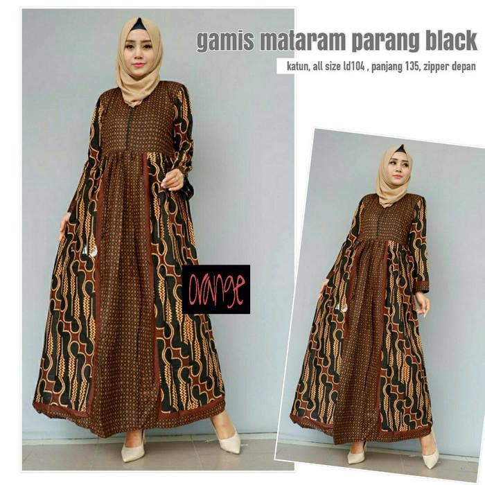 Toko Pedia Baju Batik: Jual Dress Gamis Batik Mataram Parang Black