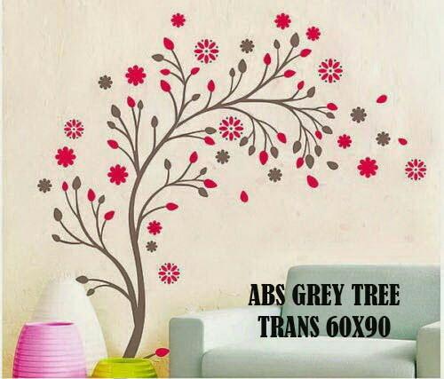 jual wallsticker dinding pohon bunga merah - kota tangerang selatan