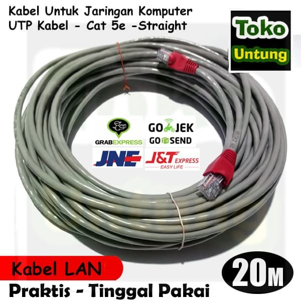 harga Kabel lan 20 meter utp + rj45 straight - tinggal pakai Tokopedia.com