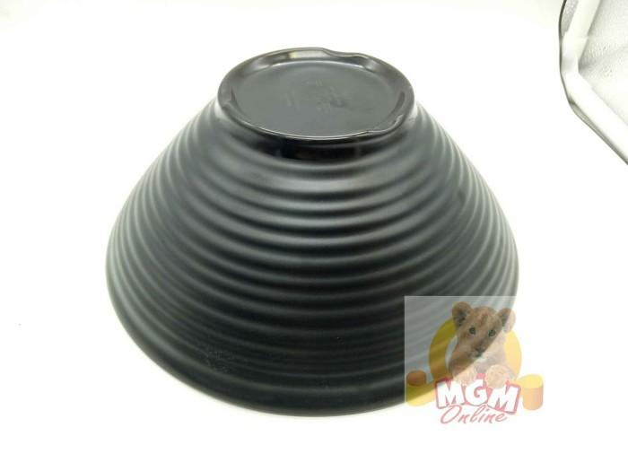 Mangkok ramen body ulir 17.5cm / 7inch mk melamine ramen hitam doff